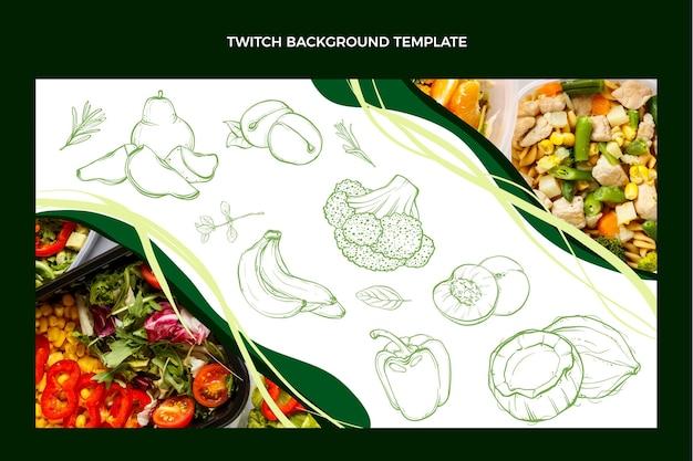 Fondo de twitch de comida dibujada a mano