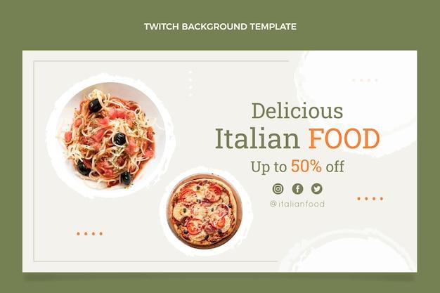Fondo de twitch de comida italiana plana