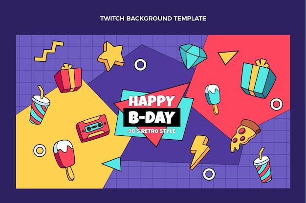 Fondo de twitch de cumpleaños de los 90 dibujados a mano