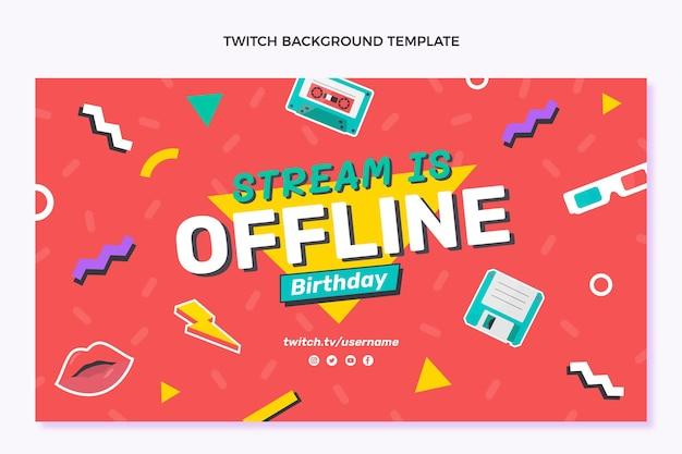 Fondo de twitch de cumpleaños dibujado a mano
