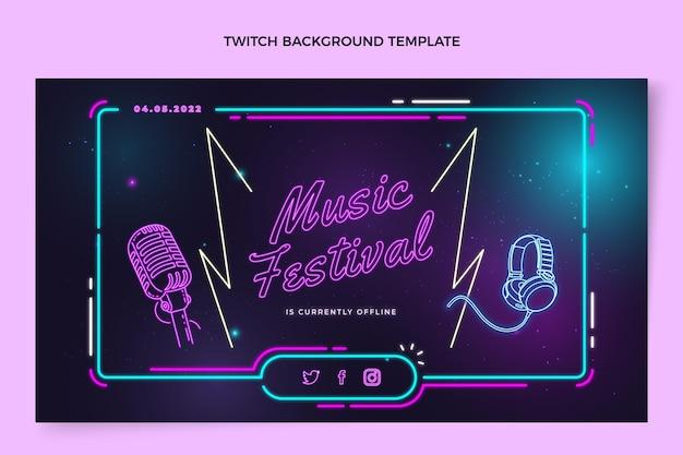 Fondo de twitch festival de música colorido degradado