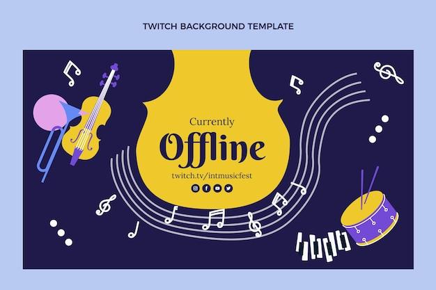 Fondo de twitch festival de música plana