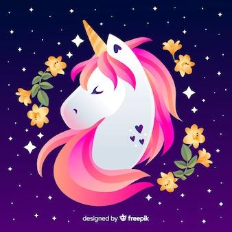 Fondo de unicornio adorable en diseño plano
