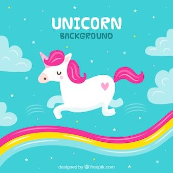 Fondo de unicornio y arcoiris