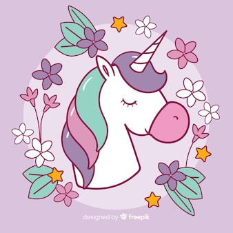 Fondo de unicornio colorido en diseño plano