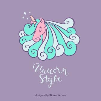 Fondo de unicornio dibujado a mano