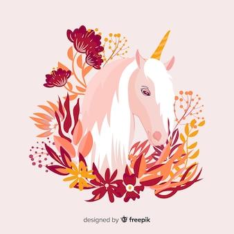 Fondo de unicornio en diseño plano