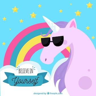 Fondo de unicornio con gafas de sol y mensaje