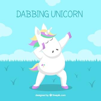 Fondo de unicornio haciendo movimiento dabbing