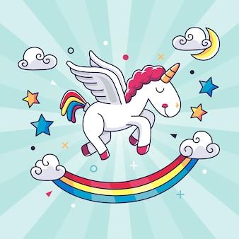 Fondo unicornio kawaii dibujado a mano