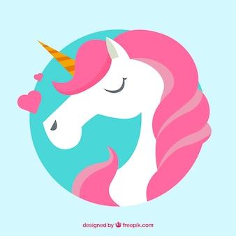 Fondo de unicornio rosa con corazones