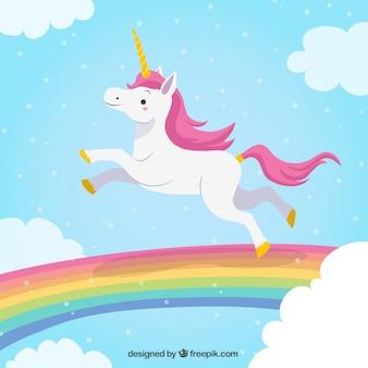 Fondo de unicornio saltando en el arcoiris Vector Premium