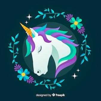 Fondo de unicornios en diseño plano
