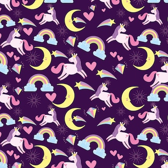 Fondo de unicornios y lunas.