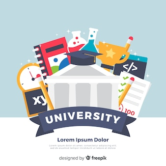 Fondo de universidad en diseño plano