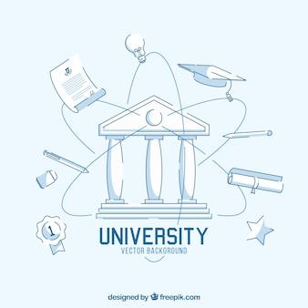 Fondo de universidad en estilo plano