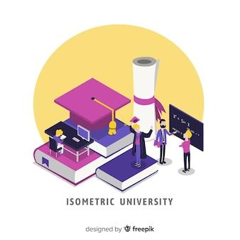 Fondo de universidad en isométrico