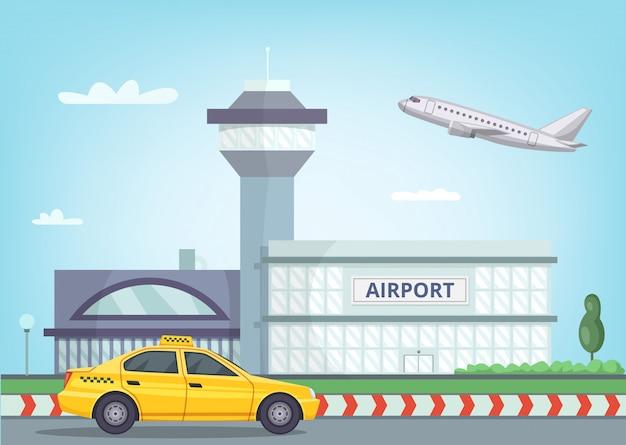 Fondo urbano con edificio del aeropuerto, avión en el cielo y taxi.