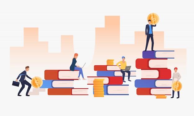Fondo urbano con gente de negocios y libros.
