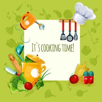 Fondo de utensilios de cocina