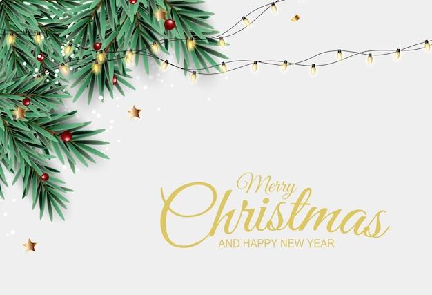 Fondo de vacaciones de año nuevo y feliz navidad con árbol de navidad realista.