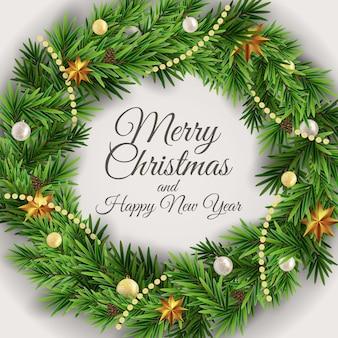 Fondo de vacaciones de año nuevo y feliz navidad con corona de navidad realista.