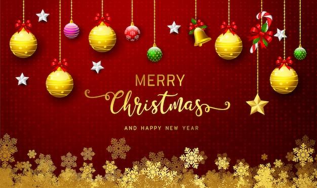 Fondo de vacaciones con deseos de temporada y borde de ramas de árbol de navidad de aspecto realista decoradas