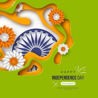 Fondo de vacaciones del día de la independencia de india. papel cortado formas con sombra, flores, rueda 3d en tricolor tradicional de bandera india. texto de saludo, ilustración vectorial.