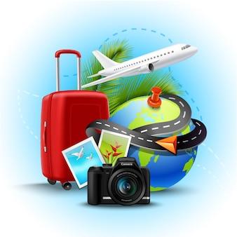 Fondo de vacaciones y días festivos con maleta de globo realista y cámara de fotos.