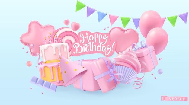 Fondo de vacaciones de feliz cumpleaños. objetos realistas vectoriales 3d. globos de juguete, corazón, símbolos de estrellas, magdalena, pastel, caja de regalo