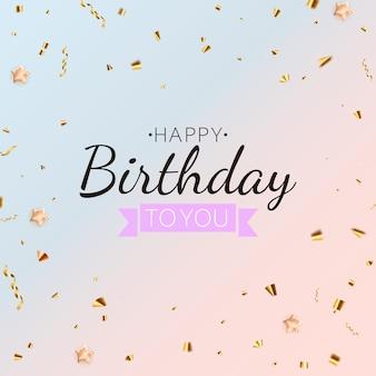 Fondo de vacaciones de fiesta de cumpleaños feliz con confeti dorado. ilustración vectorial
