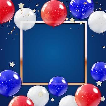 Fondo de vacaciones con globos para cartel de estados unidos