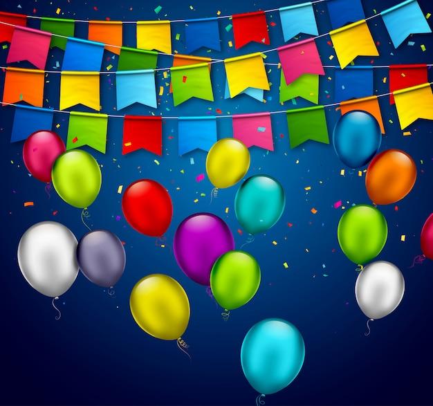 Fondo de vacaciones con globos de colores y guirnaldas de banderas