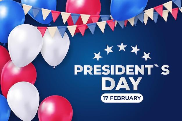 Fondo de vacaciones con globos para el día del presidente de ee. uu.