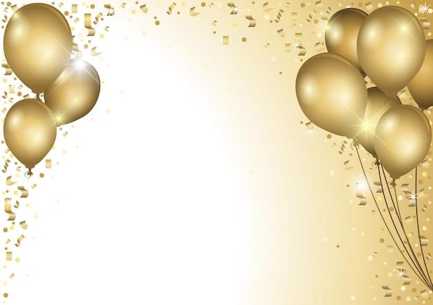 Fondo de vacaciones con globos de fiesta dorados y confeti cayendo