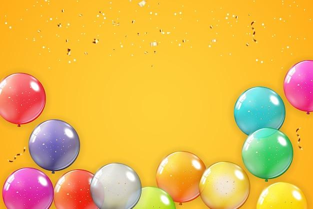 Fondo de vacaciones con globos