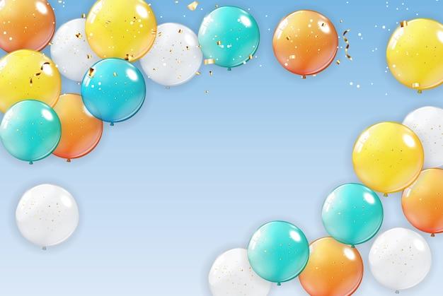 Fondo de vacaciones con globos.