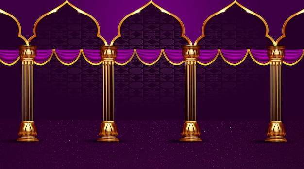 Fondo de vacaciones islámicas de columna de poste