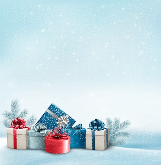 Fondo de vacaciones de navidad con un borde de cajas de regalo.
