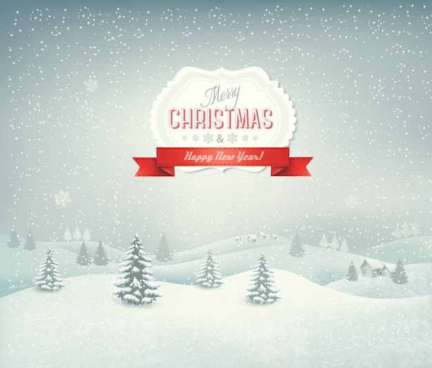 Fondo de vacaciones de navidad con paisaje de invierno