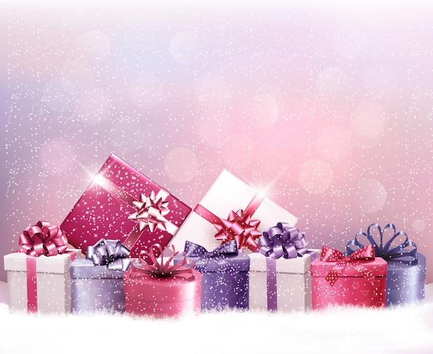 Fondo de vacaciones de navidad con regalos.