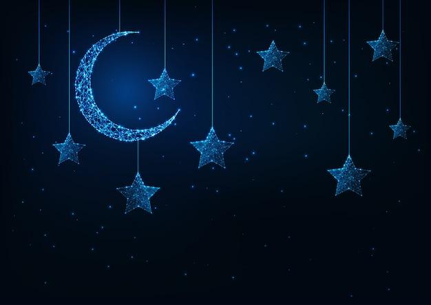 Fondo de vacaciones de noche con luna creciente futurista que brilla intensamente bajo poli y estrellas y azul oscuro.