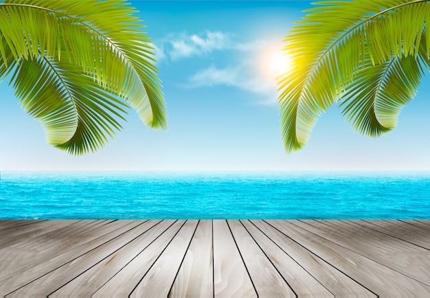 Fondo de vacaciones playa con palmeras y mar azul.