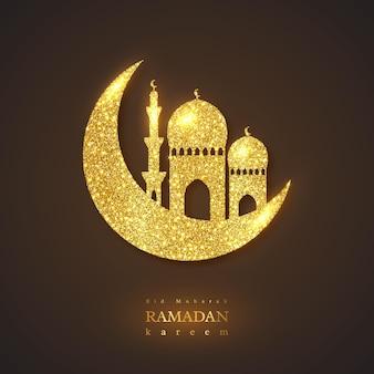 Fondo de vacaciones de ramadán kareem. diseño brillante brillo, fondo negro. ilustración.