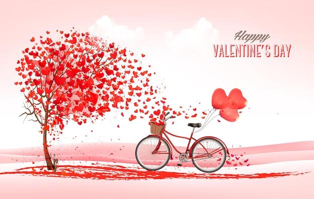 Fondo de vacaciones de san valentín con árbol en forma de corazón y bicicleta con globos rojos.