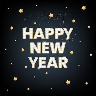 Fondo de vacaciones para la tarjeta de felicitación de feliz año nuevo con un brillo dorado