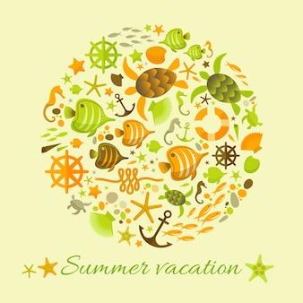 Fondo de vacaciones de verano con elementos de ilustraciones marinas recogidos en círculo