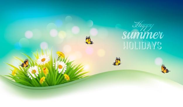 Fondo de vacaciones de verano feliz con flores, césped y mariposas. vector