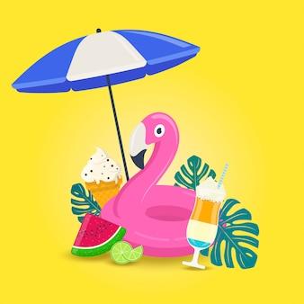 Fondo de vacaciones de verano con flamenco rosado inable, helado, cóctel, etc.ilustración