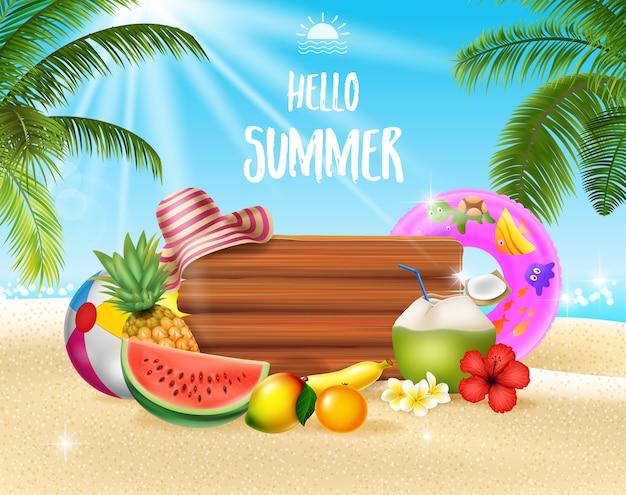 Fondo de vacaciones de verano con frutas tropicales